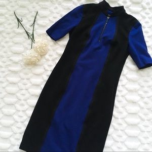 Worth New York Black and Blue Zip Up Fitted Dress